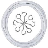 Outus Alambre para Cortinas Blanco con 4 Argollas y 4 Ganchos (2 M)