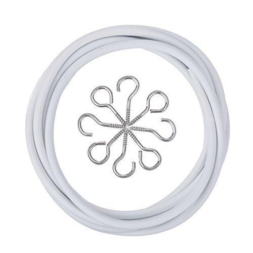 Weiße Vorhangdraht mit 4 Augen und 4 Haken (2 M)