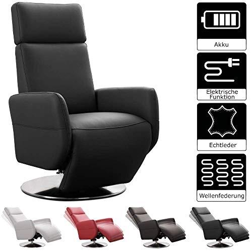 Cavadore TV-Sessel Cobra / Fernsehsessel mit 2 E-Motoren und Akku / Relaxfunktion, Liegefunktion / Ergonomie L / 71 x 112 x 82 / Echtleder Schwarz