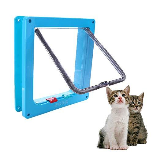FXQIN Solapa para Puerta de Gato - 4 Formas de Bloqueo de la Puerta Inteligente magnética Impermeable para Mascotas, Compatible con Gatos Adultos y Perros pequeños, 3 tamaños,S