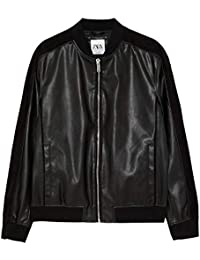 cacb434f Zara Men's Contrast Faux Leather Bomber Jacket 8281/472 Black