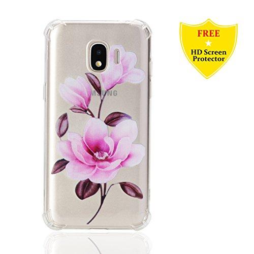 idatog Galaxy J2 Pro 2018 hülle, Kreatives Muster Transparent TPU Silikon Schutz Handy hüllen Smartphone Schutzhülle Case Cover Handyhülle mit HD-Schutzfolie für Samsung Galaxy J2 Pro 2018 (Lotus)