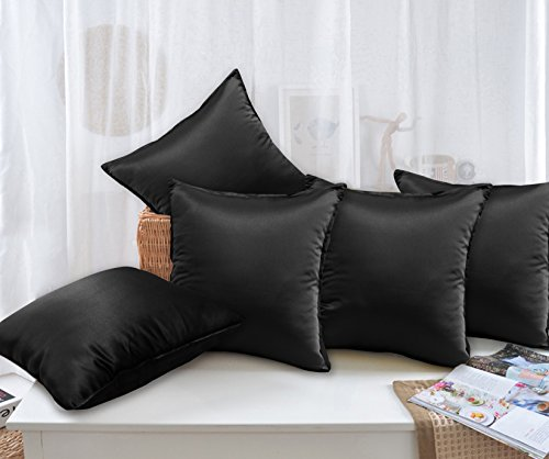 Story@Home Black Designer Digital Print Cushion Cover set of 5 Pcs