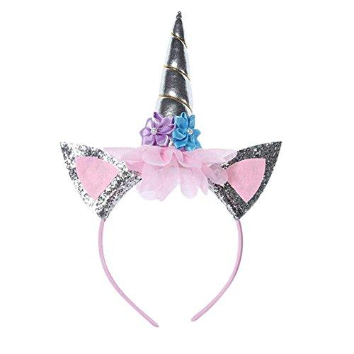 Westeng Kawaii Diadema de Fiesta Unicornio Diadema para Niña Brillante Tocado de Unicorn Cumpleaños Accesorios de Pelo Decoración de Disfraz para Fiesta (Silver)