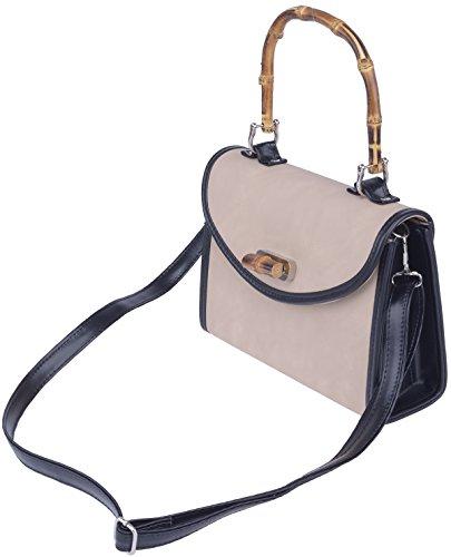 Küstenluder Damen Tasche Marin Classic Bamboo Handtasche Beige Beigefarben / Schwarz