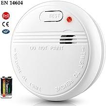 Detector de Humo Óptico Sensor Fotoeléctrico de Alarma de Incendios con Batería EN14604