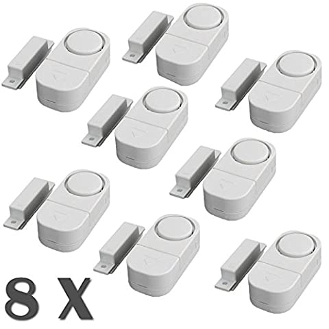Senweit Pack of 8 Mini Alarms Magnetic Door Window Alarm Home Security System Wireless Sensor Burglar Intruder Entry Warning Alarm Battery Included