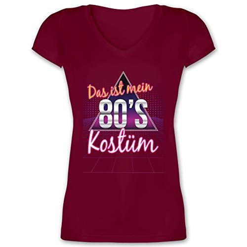 Karneval & Fasching - Das ist Mein 80er Jahre Kostüm - XXL - Bordeauxrot - XO1525 - Damen T-Shirt mit V-Ausschnitt