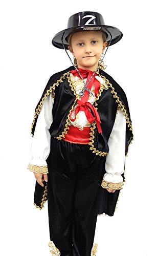 novità vestiti carnevale travestimento maschera cosplay halloween gioco personaggio film banderas zorro spadaccino moschettiere pantalone camicia mantello spada mascherina cintura cappello tg m colore nero bambino ragazzo