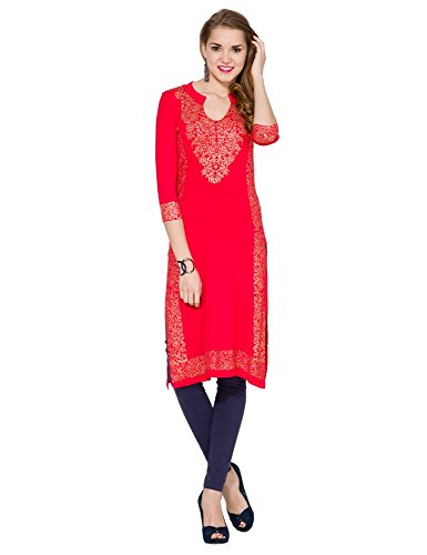 Folklore Women's Straight Kurta (FOKU001572_Red_Medium)