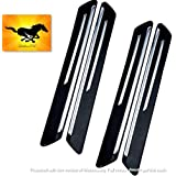 LakhanPal® Car Bumper Protector Guard with Double Chrome Strips 4Pcs - Black (for All Cars)