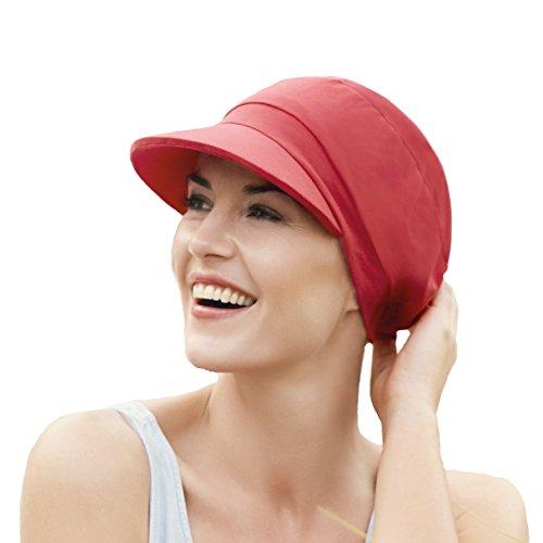 Gorra oncologica roja drapeada algodón visera protección