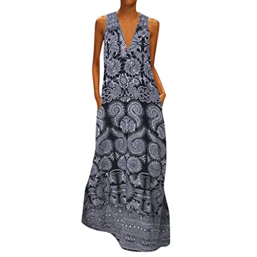 Loxmy Sommerkleider Damen Plus Size Ärmelloses Vintage Stil Kleid Strandkleid mit V-Ausschnitt Casual Arbeit Print Kleider Knöchellanges Langes Kleid Cocktail Party Hochzeitskleid -