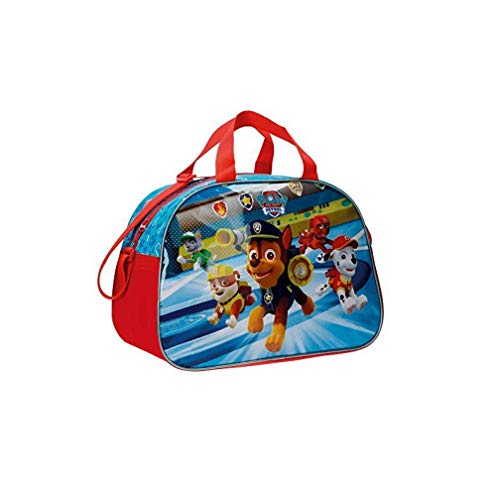 Takestop® borsa viaggio palestra cartoni animati dreamworks disney pijmasks 45x20x26cm sacchetto borsa palestra scuola spiaggia sport zaino zainetto sacchetto (paw patrol blu)