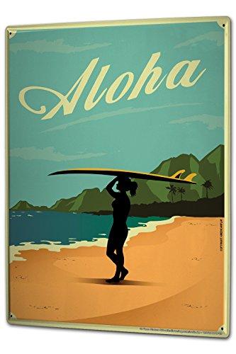 LEotiE SINCE 2004 Blechschild Wandschild 30x40 cm Vintage Retro Metallschild Nostalgie Frau Surfbrett Strand Aloha -