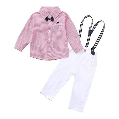 LABIUO Kinderkleidung, Babykleidung Eingestellt Kinderhemd Oben+Hose Herren Dreiteiliger Anzug Sommeranzug(Rosa,18-24 Monate/100)