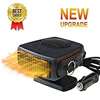 BluCos Portable Auto Car Heater, 12V 150W Windshield Defogger Defroster with 360° Adjustable and 1.5M Cable, 2 in 1 Powerful Car Heater Cooling Fan, Heating Quickly and Low Noise