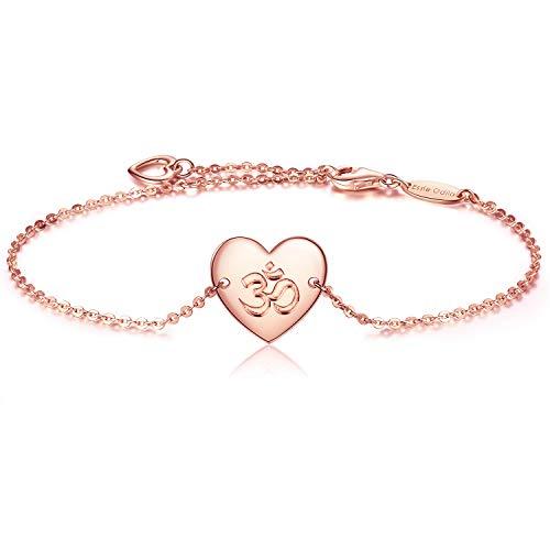 925 Sterling Silber Damen Armband Yoga Om Religiöse Glaube Hoffnung Liebe Einstellbare Armbänder