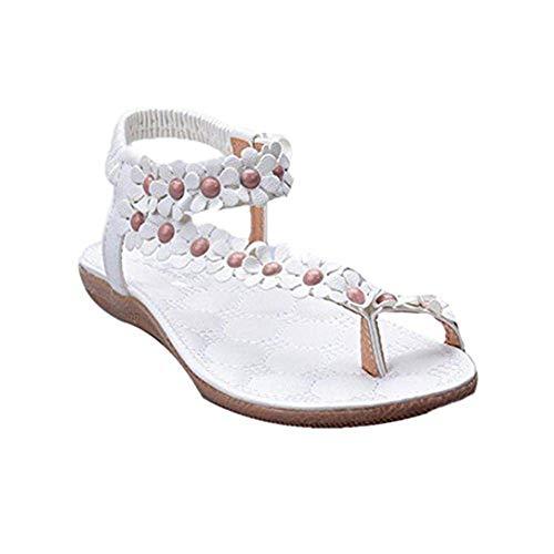 MOIKA Damen Sandalen, Sommer Elegant hmen Blumen-Perlen Flip-Flop Schuhe Flache Sandalen Schuhe Mode Strandschuhe Zehentrenner Pantoletten Riemchensandalen(EU37,Weiß (Sperrys Für Frauen Schwarz Und Weiß)