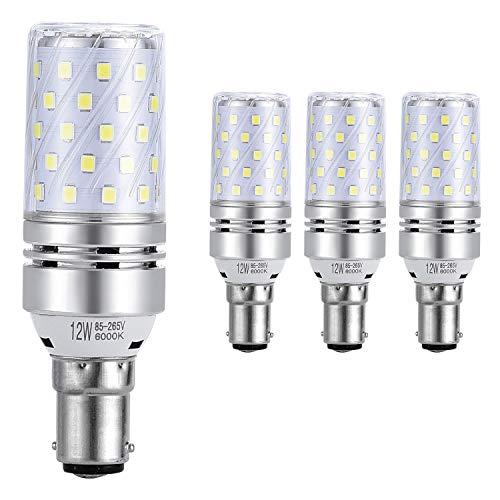 Sauglae B15 LED Mais Leuchtmittel 12W, Entspricht 100W Glühbirnen, 6000K Tageslicht Weiß, 1200Lm, Kleine Bajonett Kappe LED Birne, 4-Pack