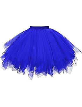 Lenfesh Mini Falda De Ballet Skirt, Mujer Adultos Colores Faldas De Tul Cortas Tutú CláSica De Ballet para Disfraz...