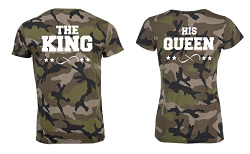 "TRVPPY Partner Herren + Damen Camouflage T-Shirts ""THE KING + HIS QUEEN"" in versch. Farben Weiß-Camouflage"