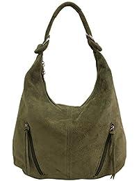 AMBRA Moda bolsa de asas de cuero de las mujeres Bolso de gamuza Bolso de hombro