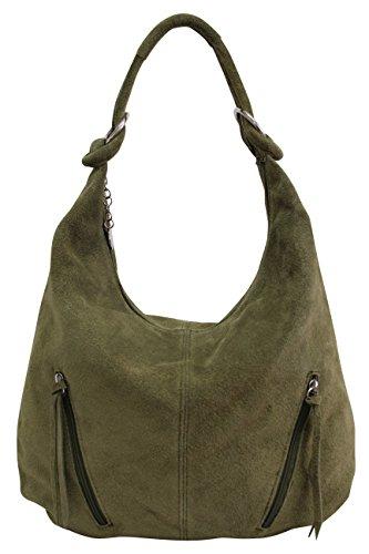 AMBRA Moda Damen Ledertasche Shopper Wildleder Handtasche Schultertasche Beuteltasche Hobo Tasche Groß WL822 (Olivgrün) -