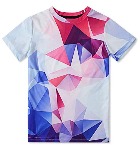 7 Diamanten Kinder T-shirt (AIDEAONE Kinder Jungen T-Shirts Sommer Tops Diamant Drucken T-Shirt 6-8)