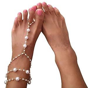 HugeStore 1 Stück Künstliche Perlen Barfuß Sandelholz Fußschmuck Fußkettchenkette Fußkette für Damen