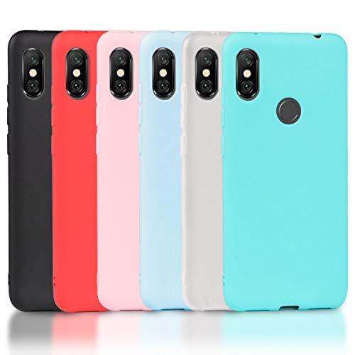 Wanxideng 6 x Funda Xiaomi Redmi Note 6 Pro, Carcasa Suave Mate en Silicona TPU, Soft Silicone Case Cover [ Negro + Blanco Translúcido + Rojo+ Rosado+ Menta Verde + Azul Claro ]