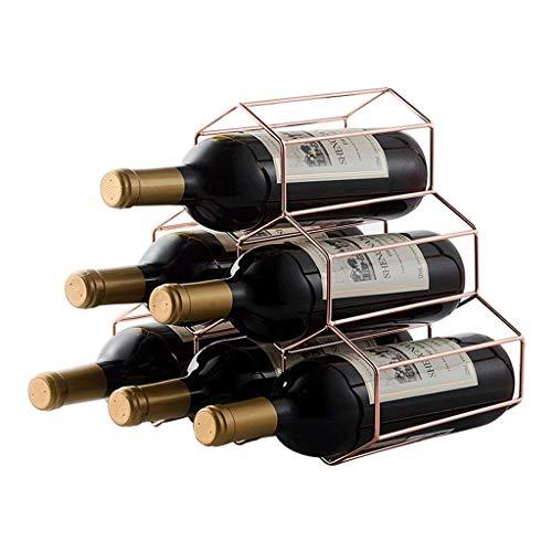 HYYDP Weinhalter Weinflaschenhalter Honeycomb Style 6 Flaschen Laden, Kreative Dekoration Wohnzimmer Ständer Dekorationen Weinregal