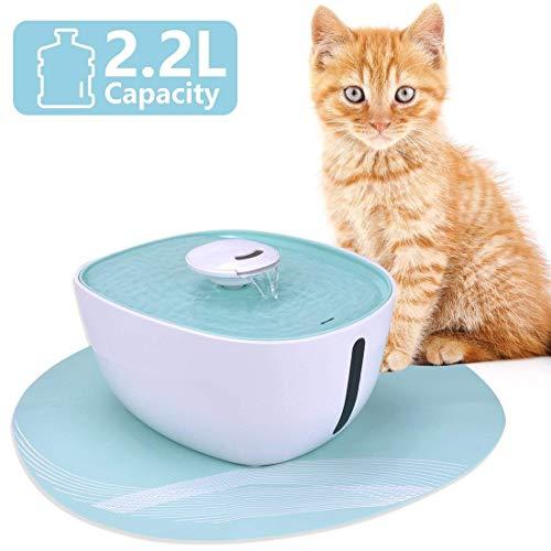 Iseebiz Fuente para Gatos/Perros, Bebedero Automatico con 2.2litro Circulante para Mascota con Estera de Silicona Sin Ruido