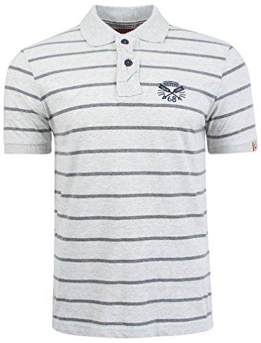 Tokyo Laundry Herren Hanska Gestreift Poloshirt Größe S-XXL Hellgrauer marl
