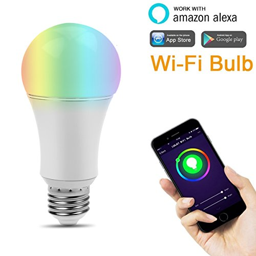 LUXJET WiFi Smart LED Bulb 7W RGBW Dimmable Multicolored Party Light, Smartphone App Controlled, Home Lighting, No Hub Required, Works with Alexa (WIFI Bulb 2)