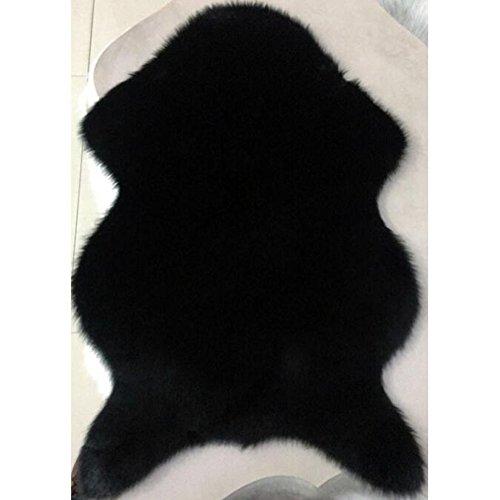 Schwarz Teppich Fell (Weiß Schwarz Grau Lila Home Deco Sofa Stuhl Kissen Kunstfell Pelz Stil Teppiche Winter Schlafzimmer Decke, Schwarz , 2.46ftx3.48ft)