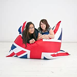 Giant Bean Bag Arm Chair 4 in 1 Union Jack Fabric Floor Cushion Extra Large XXXL Marbling Defect on White Print