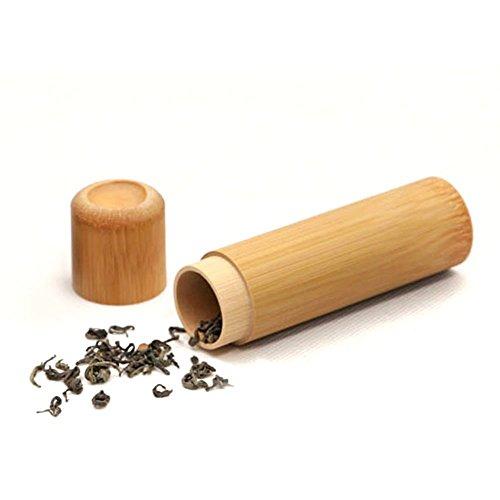 Amaoma Bambus Teedose, Reisen Tragbare Mini Bambus Teekanne Set, Natürliche Gebürtige Bambus Versiegelte Teedosen, Kaffee Bohnen Tee Zucker Speicher Fenster, Natur (S/12*2.7cm) -