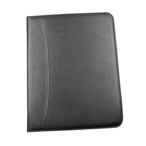 Borsa Executive/Cartella per Conferenze di Lavoro A4 Nera Effetto Pelle con Zip