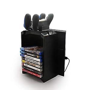 TurnRaise Games Tower, Vertikaler Standfuß Spiele-Speicherturm für Playstation 4, Dualshock Controller Ladegerät für PS4…