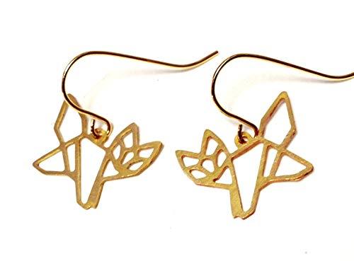 Vergoldete Handmade Origami Fuchs Ohrringe, ein süßes handgefertigtes Geschenk für die beste Freundin oder Schwester