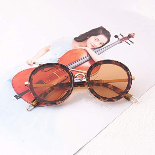 Taiyangcheng Sonnenbrille Kinder Brille Runde Metall Kinder Sonnenbrille Cool,Braun