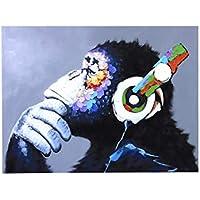 Mono del Gorila con el Auricular Colorido de la Pintura Pared del Arte Animal de la impresión del extracto de poliéster para la decoración casera Regard