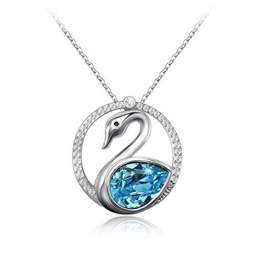 Veecans collana donna con pendente cigno realizzata con cristalli swarovski, idea regalo per natale, prolunga 40 + 5 cm