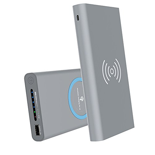 KONKY 2 in1 Qi Wireless Charger Induktions Qi Ladegerät Drahtlose Ladestation mit 10000mAh Li-Pol Powerbank Externer Akku Batterie 2.1A Output für Apple iPhone 8/8 Plus/iPhone X/iPad, Samsung S8/S8 Plus und Other Android Geräte, Grau
