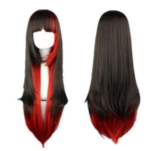s Kostueme Peruecke Lolita Rot Schwarz lang gerade Anime Karneval Haar (Schwarze Und Rote Kostüme Perücke)