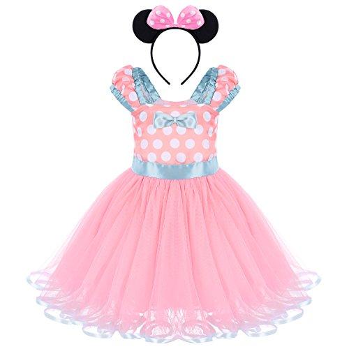 ädchen Kostüme Polka Dots Tutu Prinzessin Kleid Karneval Halloween Weihnachten Faschingskostüm Geburtstag Partykleid Cosplay Verkleidung Outfits mit Maus Ohren Haarreif 2-3 Jahre ()
