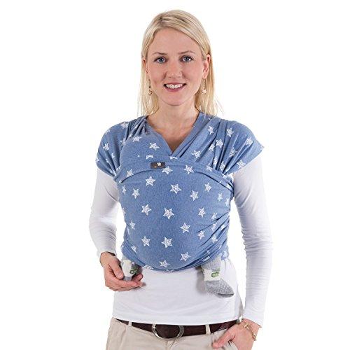 HOPPEDIZ elastisches Tragetuch für Früh- und Neugeborene, inkl. Trageanleitung, 5,40m x 0,50m, Blau mit Stern