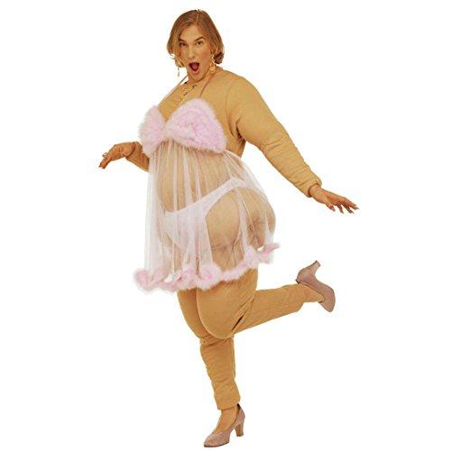 Frauen Für Fette Kostüm - NET TOYS Lustiges Ausgefallenes Fett Boy Fett Girl Kostüm Dicke Stripperin Frau Faschingskostüm Karnevalskostüm