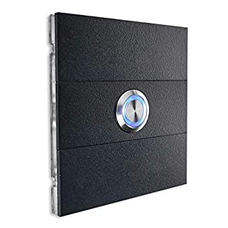 Magnetic doorbell-Plate Anthracite Stainless-Steel – LED Push-Button – Interchangeable Name-Plates – Flush-mounting